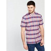 Lacoste Lacoste Sportswear Short Sleeved Checked Shirt, Toreador, Size 38, Men