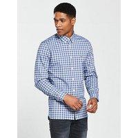 Lacoste Sportswear Long Sleeve Checked Shirt, Grey/Sky Blue, Size 38, Men