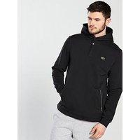 Lacoste Sport Zip Through Hoody, Black/Fluro Zest, Size 5, Men