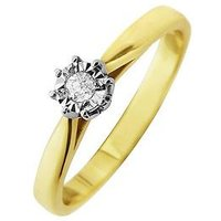 Starlight 9ct Gold 1/4ct Look 5 Point Diamond Illusion Set Solitaire Ring, One Colour, Size I, Women