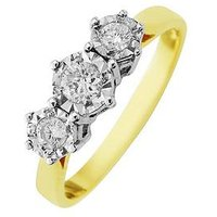 Starlight 9ct Gold 1ct look 25 Point Illusion Set Trilogy Ring, One Colour, Size M, Women