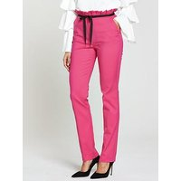 V by Very Tie Detail Cigarette Trouser - Pink, Pink, Size 12, Women
