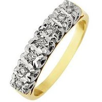 Starlight 9ct Gold 1ct look 10 Point Illusion Set Eternity Ring, One Colour, Size K, Women