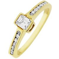 Love DIAMOND 9ct Gold 50 Point Emerald Cut Diamond Ring With Stone Set Shoulders, One Colour, Size K, Women