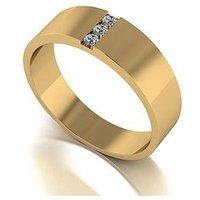 Love DIAMOND 9ct Gold Diamond Set Band Ring, One Colour, Size N, Women