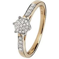 Love DIAMOND 9ct Yellow Gold 10 Point Diamond Cluster Ring With Diamond Set Shoulders, One Colour, Size L, Women