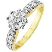 Starlight 9ct Gold 1.25ct look 50 Point Illusion Set Diamond Ring With Stone Set Shoulders, One Colour, Size I, Women