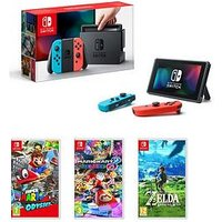Nintendo Switch Neon Red / Blue Console With Super Mario Odyssey, Mario Kart 8 And Legend Of Zelda
