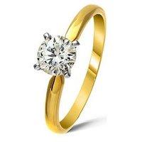 Love DIAMOND 18 Carat Yellow Gold Certified 1 Carat Diamond Solitaire Ring, One Colour, Size P, Women