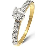 Love DIAMOND 9 Yellow Gold 1 Carat Diamond Solitaire (0.40Ct) And Set Shoulders (0.60Ct) Ring, One Colour, Size O, Women