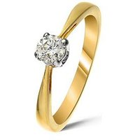 Love DIAMOND 9 Carat Gold 25 Point Diamond Solitaire Ring, One Colour, Size N, Women