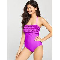 V by Very Ruffle Front Bandeau Swimsuit, Purple, Size 10, Women