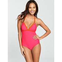 V by Very Ring Detail Colour Block Swimsuit, Pink/Orange, Size 10, Women