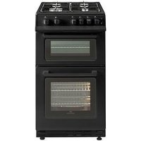New World 50Gtc 50Cm Wide Twin Cavity Gas Cooker With Optional Connection - Black