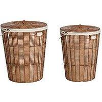 Natural Woven Set 2 Laundary Baskets