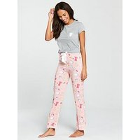 V by Very Brunch Print PJs - Pink/Grey, Pink/Grey, Size 18, Women
