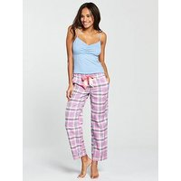 V by Very Summer Check Pj, Pink/Grey, Size 14, Women
