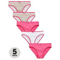 V by Very 5 Pack Stripe Bright Knickers, Multi, Size 13 Years, Women