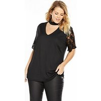 V by Very Curve Lace Sleeve Choker Top, Black, Size 26, Women
