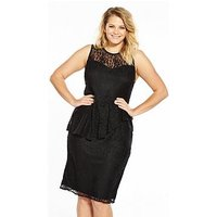 V by Very Curve Lace Peplum Pencil Dress, Black, Size 28, Women