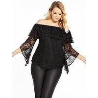V by Very Curve Lace Bardot Top, Black, Size 24, Women