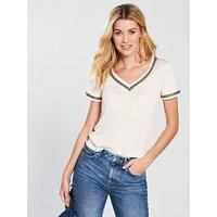 V by Very Linen Embellished Neckline Top, Beige, Size 16, Women