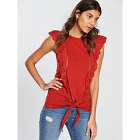V by Very Broiderie Anglais Frill Top, Paprika, Size 12, Women