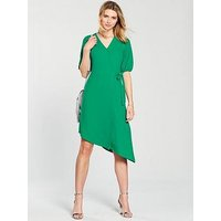 V by Very Asymmetric Hem Wrap Dress - Green, Green, Size 16, Women