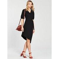 V by Very Asymmetric Hem Wrap Dress - Black, Black, Size 14, Women