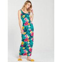 V by Very Petite Scoop Neck Jersey Maxi Dress, Bloom Print, Size 12, Women
