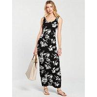 V by Very Tall Scoop Neck Jersey Maxi Dress - Monochrome , Mono Print, Size 20, Women