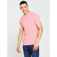 V by Very Short Sleeve Jersey Polo Shirt - Pink , Pink, Size Xs, Men