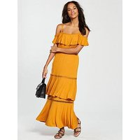 V by Very Tiered Trim Cold Shoulder Jersey Maxi Dress - Mustard, Mustard, Size 24, Women