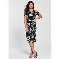 V by Very Floral Cold Shoulder Jersey Midi Dress, Mono Print, Size 20, Women