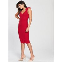 V by Very Tie Shoulder Rib Midi Dress - Red, Red, Size 12, Women