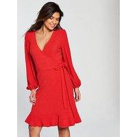 V by Very Waffle Wrap Frill Hem Day Dress, Red, Size 18, Women