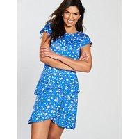 V by Very Tiered Hem Jersey Day Dress, Ditsy Print, Size 12, Women