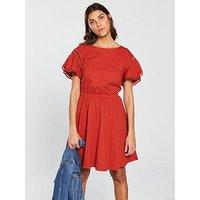 V by Very Ladder Trim Crochet Day Dress - Rust , Rust, Size 20, Women