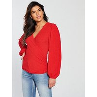 V by Very Waffle Wrap Long Sleeve Top - Red, Red, Size 14, Women
