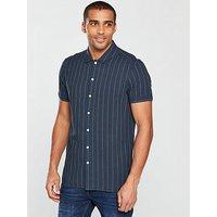 V by Very Short Sleeved Stripe Shirt, Navy, Size M, Men