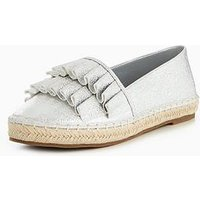 V by Very Sam Frill Espadrille, Silver, Size 5, Women