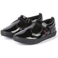 Kickers Girls Kariko T-Bar Shoe - Black, Black, Size 5 Older