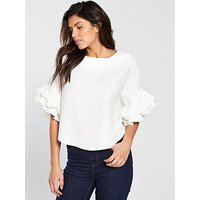 V by Very Pleated Frill Sleeve Top - Ivory, Ivory, Size 20, Women