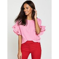 V by Very Pleated Frill Sleeve Top - Candy Pink, Candy Pink, Size 20, Women