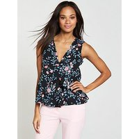 V by Very Sleeveless Tiered Ruffle Top, Floral, Size 10, Women