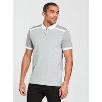 V by Very Contrast Panel Pique Polo, Grey, Size 2Xl, Men