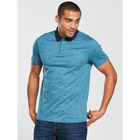 V by Very All Over Print Polo - Airforce Blue , Airforce, Size 3Xl, Men