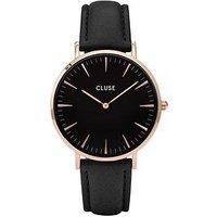 CLUSE La Bohème Rose Gold Case Black Dial Black Leather Strap Ladies Watch, One Colour, Women
