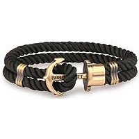 Paul Hewitt Paul Hewitt Phrep Black Nylon Bracelet with Brass Anchor fastener mens bracelet Large Size (19cms in length), One Co