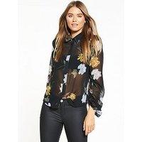 V by Very Ruched Sleeve Shirt, Black Floral, Size 12, Women